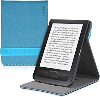 kwmobile Cover for Pocketbook Touch Lux 3/Basic Lux/Basic Touch 2 - PU Leather e-Reader Case with Built-in Hand Strap and Stand - Petrol