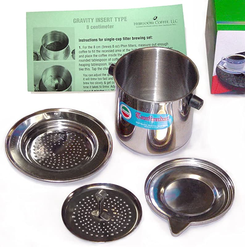 Vietnamese Traditional Coffee Phin Filter 8 Ounce Gravity Insert
