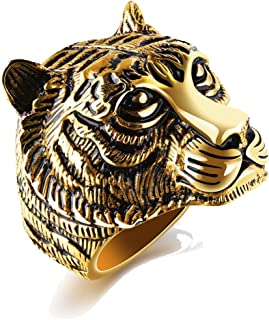 Men's Yellow Stainless Steel Tiger Head Band Vintage Gothic Tribal Biker Ring with Gift Box …