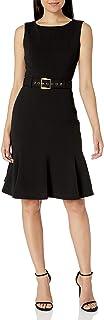 Women's Sleeveless Dress with Flounce Hem and Novelty Self Belt