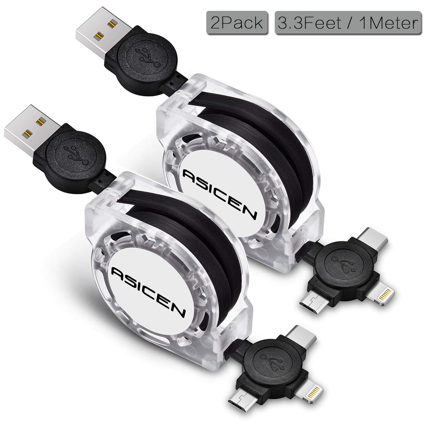 Micro USB Charging Cable, ASICEN 2Pack 3-in-1 Multi Retractable Lightning to USB Cable Type C Sync Fast Charging Cord for iPhone, iPad Mini/Pro/Air, iPod,Samsung,Moto,BlackBerry,Nokia,LG,Google,HTC