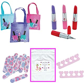 Multiple Girl's Spa Party Favors (12 Tote Bags, 12 Lipstick Tube Shaped Ink Pens, 24 Toe Separators, 12 Emery Boards)