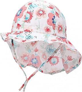 Boomly Bebé Unisexo Sombrero para El Sol Verano Protector Solar Secado Rápido Algodón Visera Cap con Protección para El Cu...