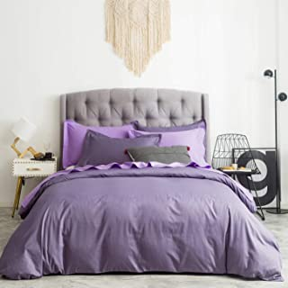 SUSYBAO 3 Pieces Duvet Cover Set 100% Natural Cotton Queen Size Solid Lilac Purple Bedding Set with Zipper Ties 1 Duvet Cover 2 Pillow Shams Luxury Quality Ultra Soft Breathable Lightweight Easy Care