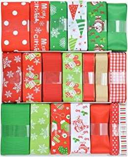 """Ribest 3/8""""-1.5"""" Christmas Ribbon Grosgrain Ribbon Satin Ribbon Printed Snowflake Christmas Trees Santa Clause Ideal for Gift Wrapping and Decoration-40 Yards (20x2yds)"""