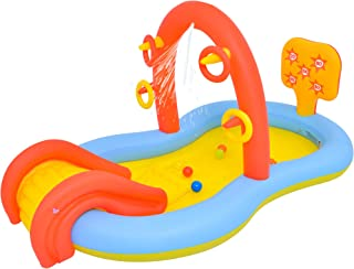 """Lunvon Jilong Inflatable Swimming Pool for Kids, Sliding Play Pool, Sprinkler Water Toys, Size 88.5"""" X 49""""X 41"""", Inflatable Play Center, Kiddie Pool for Age 2+"""
