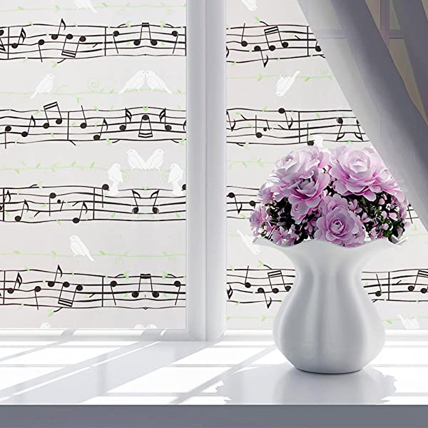 YOTHG Tropical Fish Samll Tree Musical Note Birdie Waterproof Glass Flower Window Glass Film Privacy Sticker Home Decor For Bath Glass Door 60 X 200cm Musical Note Birdie