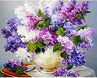 OILPHL Paint by Numbers Kits Oil Painting Gift Purple and White Flowers for Adults 40X50Cm with Combination Frame