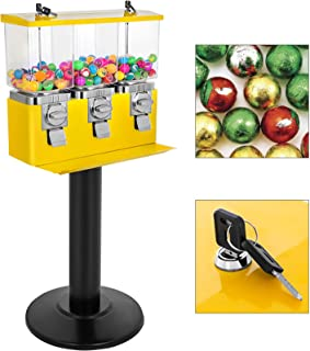 Mophorn Triple Head Candy Vending Dispenser Yellow Triple Pod Candy Gumball Vending Machine with Stand Heavy Duty Gumball Bank