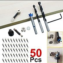 BESTZY 35pcs Raccords de Came /Ø15mm avec Goujons /à Visser M6x40mm et /Écrous Pr/é-ins/ér/és M6 pour la Connexion de Panneaux darmoires de Meubles
