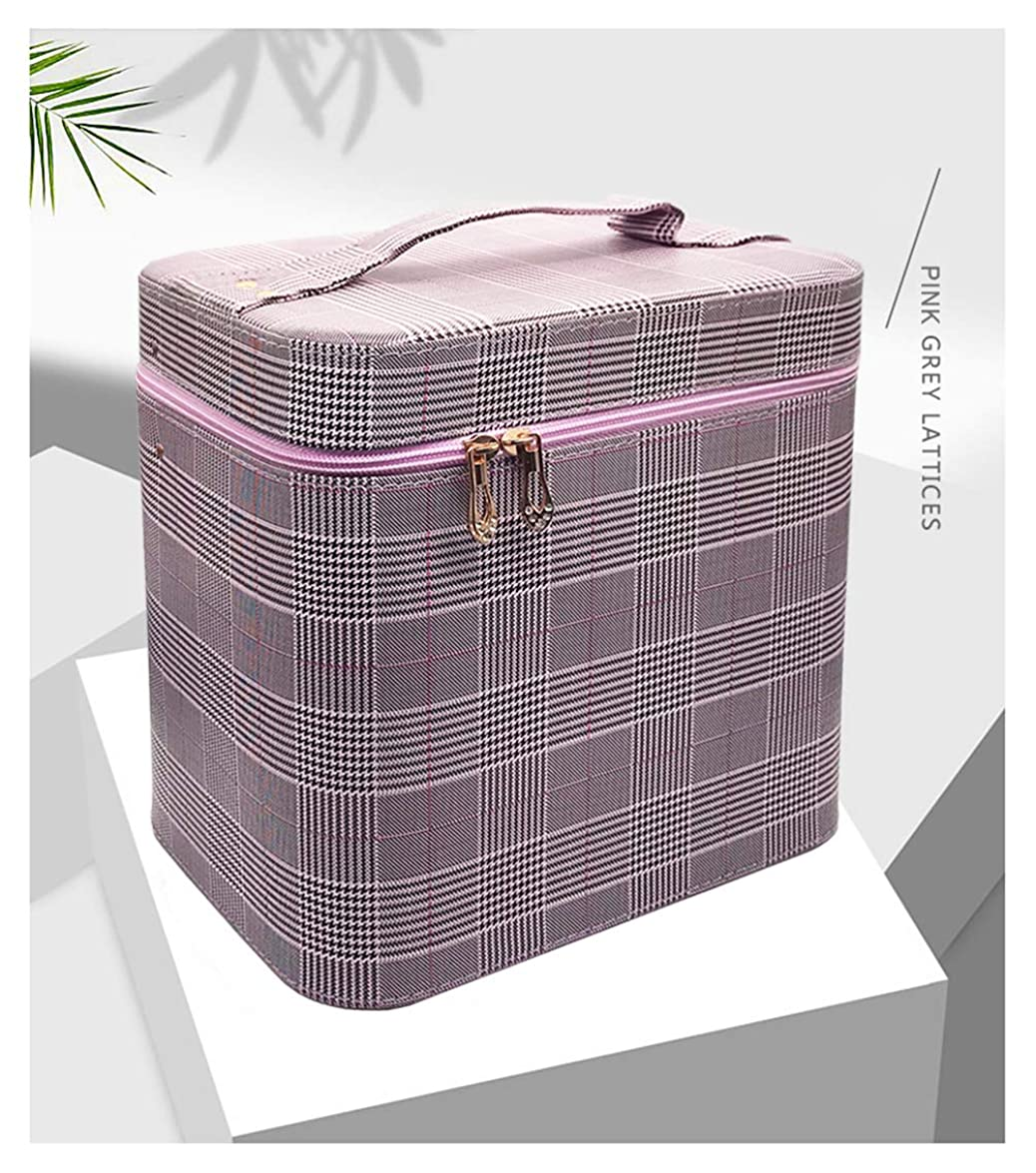 失われた貞法律によりSZTulip コスメボックス メイクボックス 大容量メイクケース 化粧品収納ケース 小物入れ 鏡付き 化粧箱 (グレー+パープルチェック)