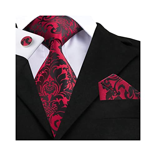 20afac7ba9 Wang Black Ties Set for Men Handkerchief Cufflinks Paisley/Stripe/Check  Neckties