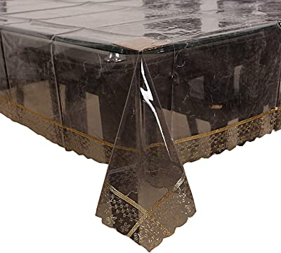 Kuber Industries Luxurious Golden Lace PVC 6 Seater Dining Table Cover - Black Transparent (CTKTC01272)