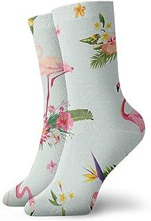 Hangdachang, Regalos de Navidad para niños Flamingo Bird and Tropical Flowers Background Vector Image_7610 Medias de moda casual Calcetines de tobillo para deportes Senderismo Correr 30cm / 11.8inch