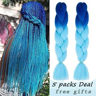 Mychanson 5Pcs Synthetic Braiding Hair Extensions 24 Inch Ombre Jumbo Twist Kanekalon Braiding Hair Extensions (Color: Sapphire-Sky Blue)
