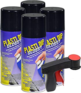 Plasti Dip Glossy, 11 oz Aerosol, Black, Pack of 4 cans with Bonus Cangun Tool - Combines Both Color Coat and Gloss Finish