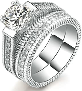 Womens Wedding Engagement Bands Ring Sets 18K White Gold Plated Princess Cut Eternity Solitaire CZ Crystal Best Anniversary Promise Rings Size 6-10