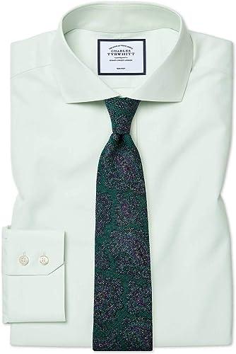 Chemise à Col Cutaway En Popeline Verte Slim Fit Sans Repassage   Vert (Poignet Simple)   17   34