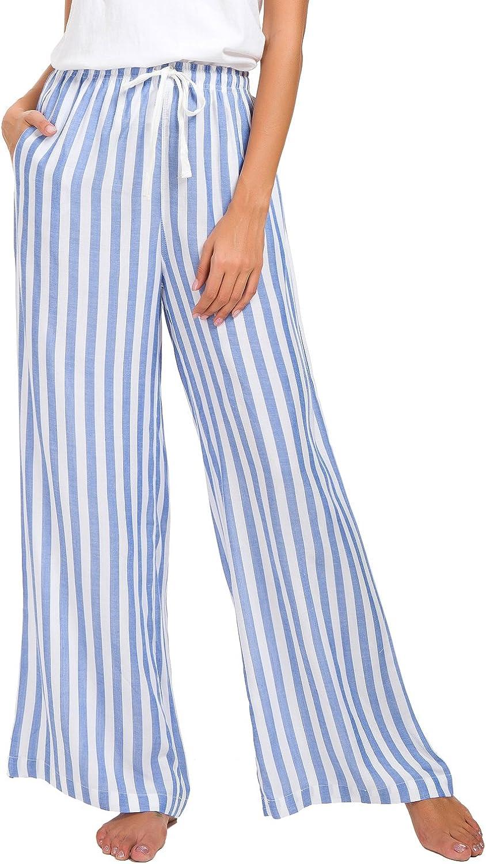 EEVASS Women Stripe Drawstring Casual Wide Leg Lounge Pants