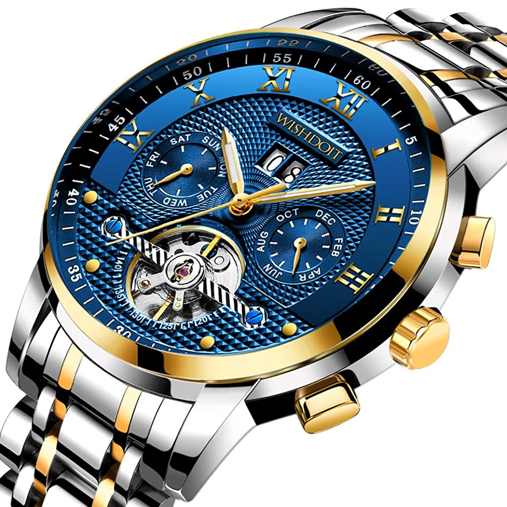 Mens Watches Luxury Fashion Automatic Date Stainless Steel Waterproof Mechanical Watch Gents Casual Business Dress Gents Wrist Watch Blue Silver krao1091573012