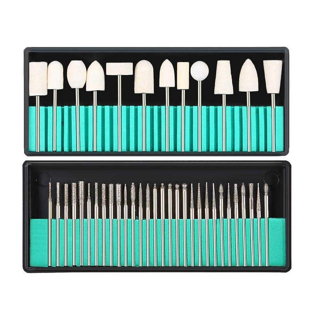 鉛筆ラジウム定義するCUHAWUDBA 爪やすりのバフ盤 30個のバフ盤ドリルビット+ 13個の模造ウール爪やすりビットキット