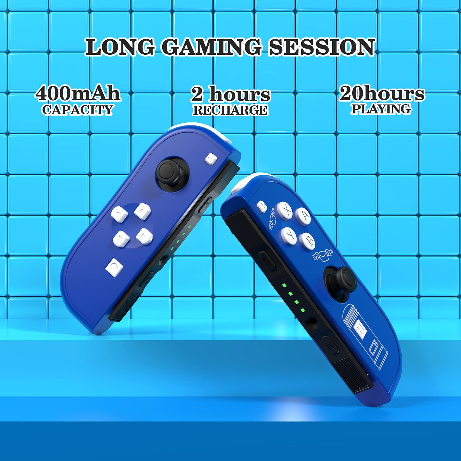 SINGLAND Replacement for N-Switch Joycon Controller – Wireless L/R Joy-Con Controllers Compatible with Switch/Lite – Alternative N-Switch Remotes w/Wrist Strap – Blue