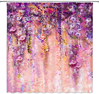 AMNYSF Watercolor Floral Shower Curtain Abstract Flower Herbs Vines Spring Scenic Colorful Wild Flowers Decor Purple Fabric Bathroom Curtains,Waterproof Polyester with Hooks 70x70 Inches