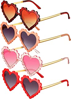 4 Pieces Kids Sunglasses Heart Shaped Cute Sunglasses Colorful Sunglasses for Boy Girls Party Favor Photography Beach Outdoor