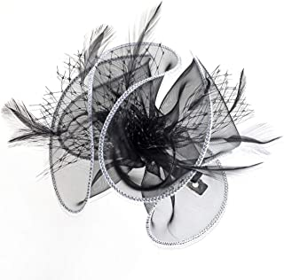 Mini Lady or Childrens Net and Feather Fascinator on Clip (BLACK/WHITE)