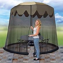 Ideaworks JB5678 Outdoor 9-Foot Umbrella Table Screen, Black