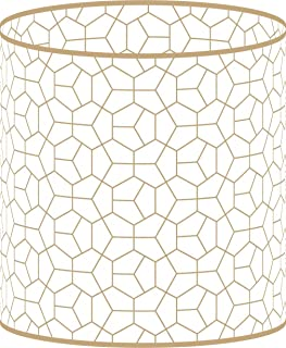 LampPix 10 Inch Table Lamp Shade - Modeco Hex Gold Canvas Desk Lampshade (Spider Fitting)