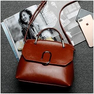Genuine Leather Handbags for Women,Ladies Crossbody Handbag Purse,100% Genuine Cowhide Leather (Color : Brown)