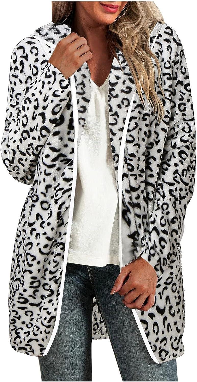 haoricu Faux Fur Jackets for Women Dressy Open Front Hoodies for Women Leopard Print Zipper Hooded Cardigan