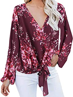 Fankle Womens Floral V Neck Tie Knot Front Blouses Boho Long Sleeve Casual Loose T-Shirt Blouses