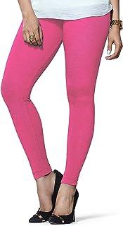 Ladyline Extra Long Premium Womens Cotton Leggings Free Size Double Stitches Plain Solid