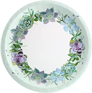 Pastel Floral Succulents Rustic Garden Adult Party Dinner Plates (8 Pack)