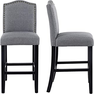 LSSBOUGHT 24 Inches Fabric Counter Height Bar Stools with Solid Wood Legs and Nailed Trim, Set of 2(Gray)