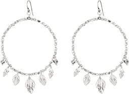 Chan Luu - Base Metal Hoop with Daggers and Leaf Charms Earrings