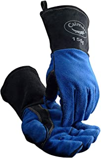 Blue/Charcoal Cowhide, Kontour Welding Gloves, Side Padding, Reinforced Palm & Thumb, One Size