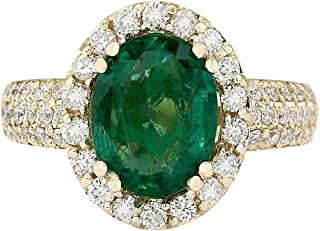 3.46 Carat Natural Green Emerald and Diamond (F-G Color, VS1-VS2 Clarity) 14K Yellow Gold Engagement Ring for Women Exclusively Handcrafted in USA