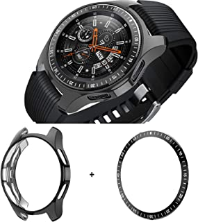 [2 Pack] JZK Samsung Galaxy Watch 42mm Bezel Ring Styling,Adhesive Cover Anti Scratch & Collision Protector Bezel Loop+Scr...