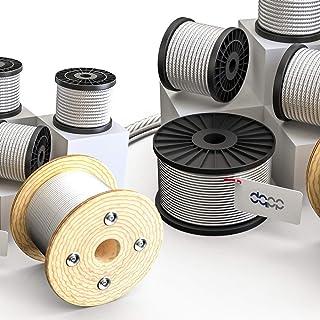 DQ-PP Staalkabel, 1 mm, 50 m, roestvrij staal, INOX 7 x 7 middelzacht, draadkabel voor klimhulp, roestvrije touw, staaldra...