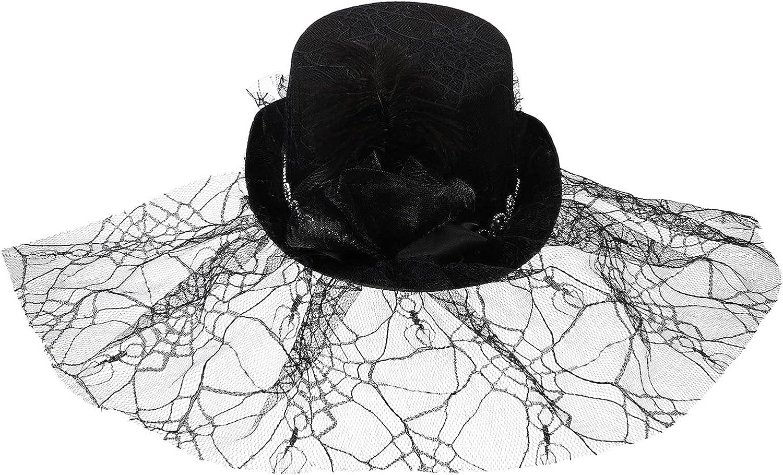 Amosfun Fascinators Hats Derby Pillbox Hat Cocktail Tea Party Hair Clip Headwear with Veil for Girls Women Black