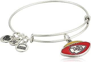Alex and Ani Women's Color Infusion Kansas City Chiefs Football II EWB Bracelet, Rafaelian Silver, Expandable