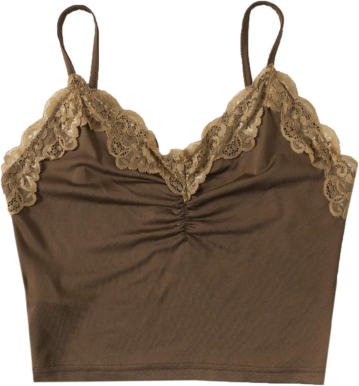 SweatyRocks Women's Casual Lace Trim Rib Knit Sleeveless V Neck Cami Crop Top
