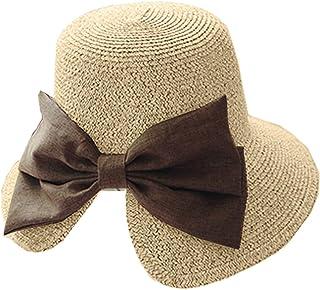 Plus Nao(プラスナオ) リボン付き麦わら帽子 ペーパーハット 折りたたみ かばん収納OK つば広 UV UV対策 UVカット 紫外線 紫外線対策 日よ