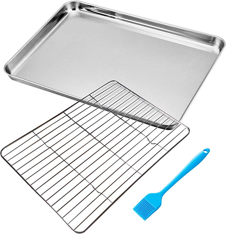 U Click Plaza Baking Sheet With Cooling Rack Set Stainless Steel Cookie Pan Tray And Wire Rack 16 X 12 X 1 Inch Heavy Duty Commercial Quality Comes With Bonus Silicone Basting Brush