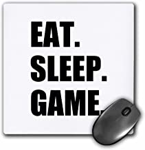 3dRose Eat Sleep Game Fun Gifts for Gamers Black Text Video Pro-Gamer Mouse Pad (mp_180406_1)