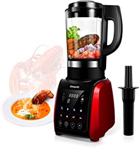 Amaste 1200W Cold and Hot Professional Countertop Blender, with 9 Presets Function and Cookbook, Perfect for Smoothies, Soup, Grind, Protein Shakes, Nonstick Glass Jar, 64 oz, Red