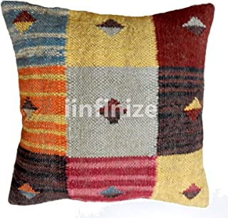 iinfinize Cover Size 18X18 Hand Woven Wool Jute Euro Sham Pillow Kilim Case Sofa Bed Sleep Pillow Cover Cushion Cover Wool & Jute Throws Indoor Outdoor Handloom Woven Jute Sofa Back Cover